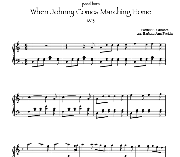 When Johnny Come Marching Home sheet music $2.00 harpist