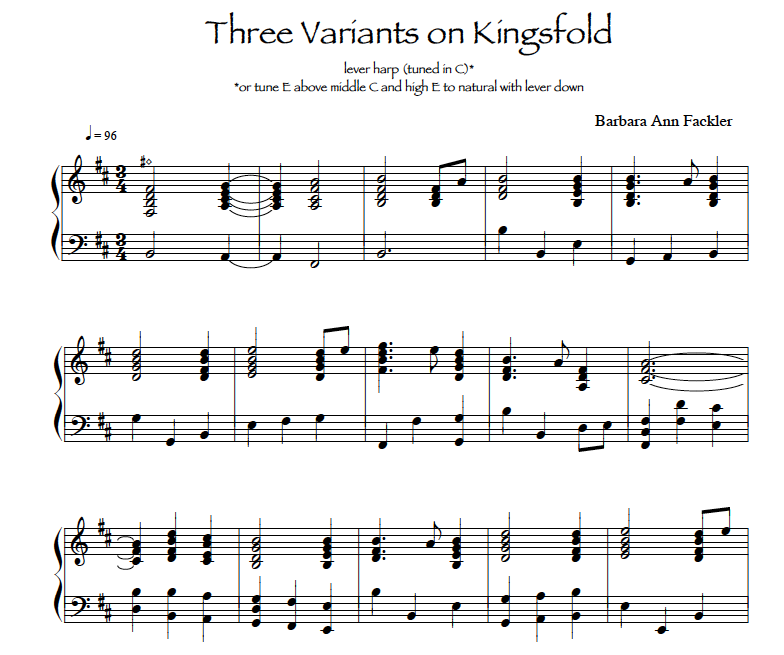 Three Variants on Kingsfold: sheet music for lever harp