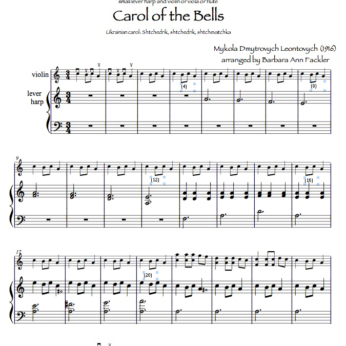 sheet music ~ violin and harp duet